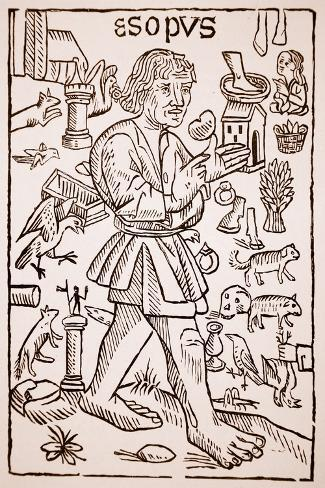 Aesop, Frontispiece to 'Aesop's Fables' by William Caxton--Stretched Canvas Print