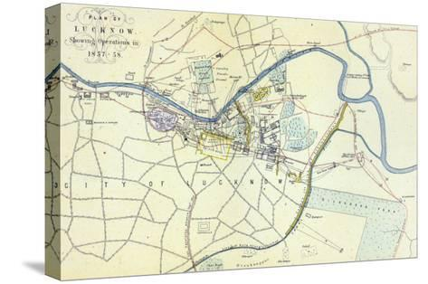 Plan of Lucknow showing Operations in 1857-58, pub. by William Mackenzie, c.1860--Stretched Canvas Print