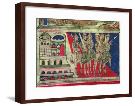 Charlemagne leaving Aachen to travel to Santiago de Compostela, miniature from 'Codice Calixtus'--Framed Art Print