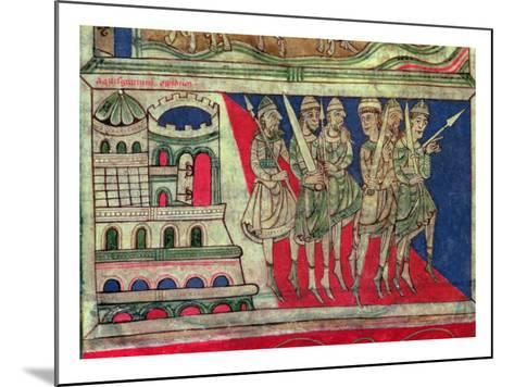 Charlemagne leaving Aachen to travel to Santiago de Compostela, miniature from 'Codice Calixtus'--Mounted Giclee Print