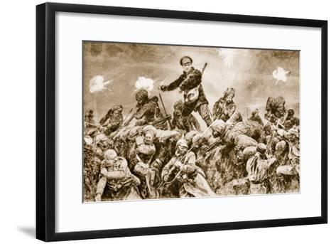 For the Glory of Raj: Indian Troops Charging the German Trenches at Neuve Chapelle--Framed Art Print