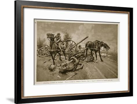 Gallipoli: Horses Rescued by Munster Fusiliers from a Waggon Shattered by Turkish Gun Fire, 1914-19--Framed Art Print