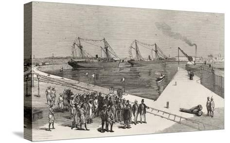 Visit of Viceroy of India to the Sassoon Dock at Bombay, from 'The Illustrated London News'-English School-Stretched Canvas Print