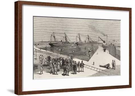 Visit of Viceroy of India to the Sassoon Dock at Bombay, from 'The Illustrated London News'-English School-Framed Art Print