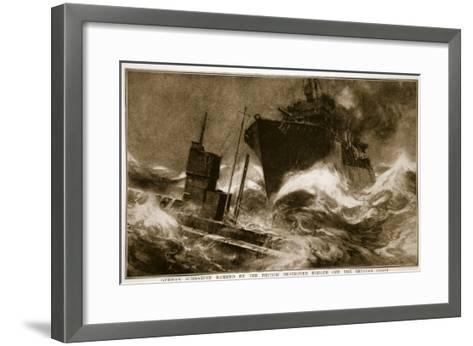 German Submarine Rammed by the British Destroyer Badger Off the Belgian Coast, 1914-19--Framed Art Print