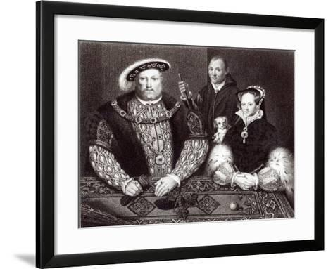 Henry VIII, his daughter Queen Mary and Will Somers, 1821--Framed Art Print