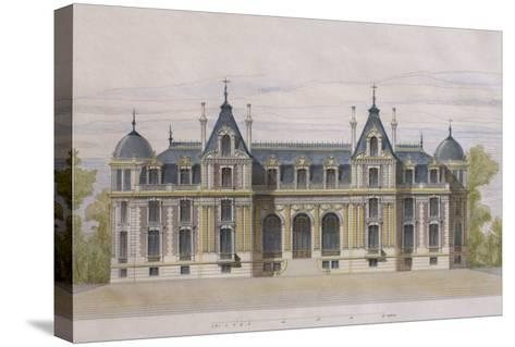 Castle of Neuflize, Garden Facade, Illustration from 'Le Moniteur Des Architectes'--Stretched Canvas Print