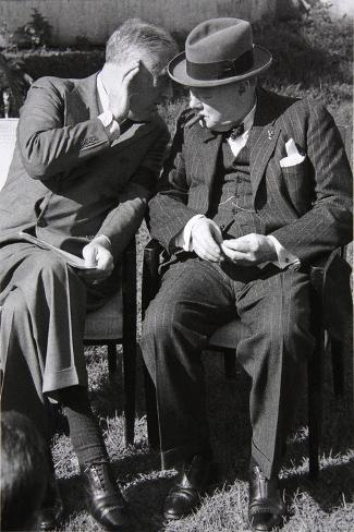 Roosevelt and Churchill Deep in Conversation at the Casablanca Conference, Morocco, January 1943--Stretched Canvas Print