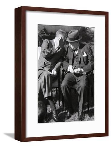 Roosevelt and Churchill Deep in Conversation at the Casablanca Conference, Morocco, January 1943--Framed Art Print