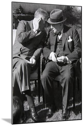 Roosevelt and Churchill Deep in Conversation at the Casablanca Conference, Morocco, January 1943--Mounted Giclee Print