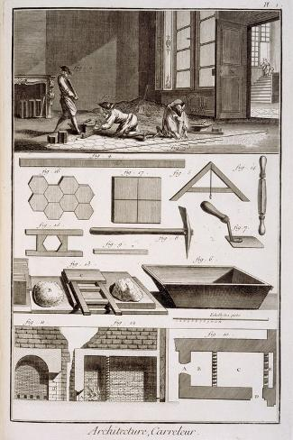 Tile-laying, from Diderot's 'Encyclopedie', 1751-72--Stretched Canvas Print