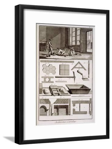 Tile-laying, from Diderot's 'Encyclopedie', 1751-72--Framed Art Print
