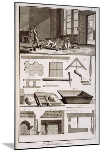 Tile-laying, from Diderot's 'Encyclopedie', 1751-72--Mounted Giclee Print