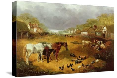 A Farmyard in Spring-John Frederick Herring II-Stretched Canvas Print