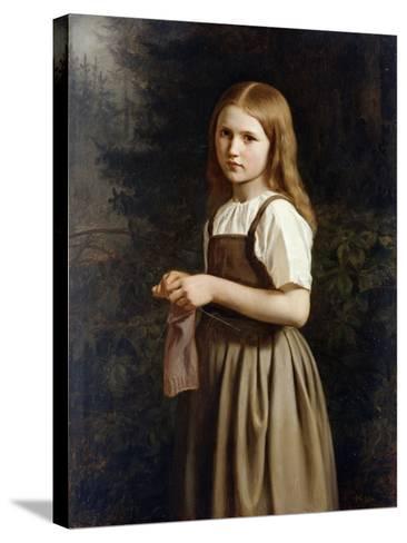 Girl Knitting, 1854-Minna Heeren-Stretched Canvas Print