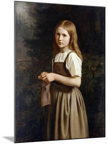 Girl Knitting, 1854-Minna Heeren-Mounted Giclee Print