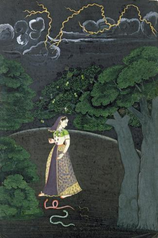 A Lady on her Way to a Tryst, c.1760--Stretched Canvas Print