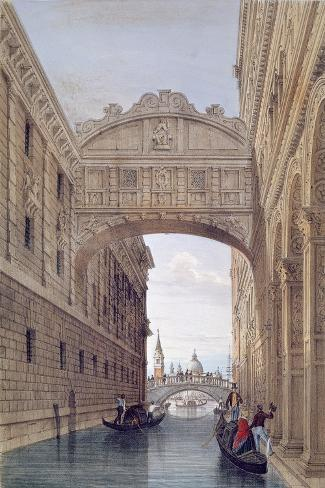 The Bridge of Sighs, Venice, engraved by Lefevre-Giovanni Pividor-Stretched Canvas Print