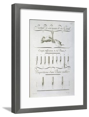 Posture of the Hand and the Penknife, engraved by Aubin, plate from Diderot's 'Encyclopedie'-Charles Paillasson-Framed Art Print