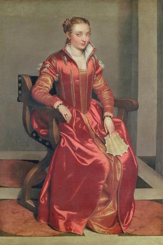Portrait of a Lady, c.1555-60-Giovanni Battista Moroni-Stretched Canvas Print