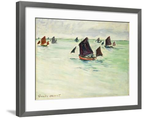 Fishing Boats at Pourville, 1882-Claude Monet-Framed Art Print