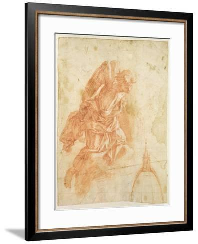 Suspended Angel and Architectural Sketch, c.1600-Bernardino Barbatelli Poccetti-Framed Art Print