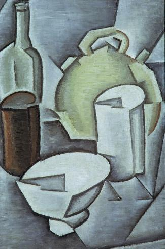Still Life with a Bottle of Wine and an Earthenware Water Jug, 1911-Juan Gris-Stretched Canvas Print