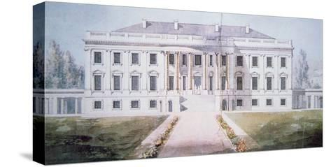 The White House in 1817-Benjamin Henry Latrobe-Stretched Canvas Print