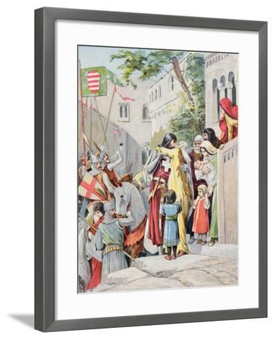 John Hunyadi Embraces his Wife, Erzsebet Szilagyi, as He Departs for Battle, c.1900--Framed Art Print
