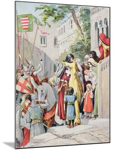 John Hunyadi Embraces his Wife, Erzsebet Szilagyi, as He Departs for Battle, c.1900--Mounted Giclee Print