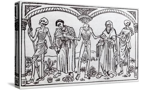 Death Taking the Monk and the Abbot, from the Danse Macabre, published Paris, 1485-Guy Marchant-Stretched Canvas Print