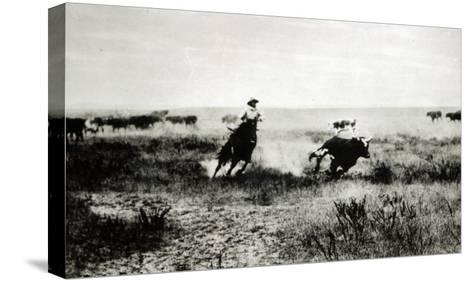 Cowboy on Horseback Lassooing a Calf-L^a^ Huffman-Stretched Canvas Print