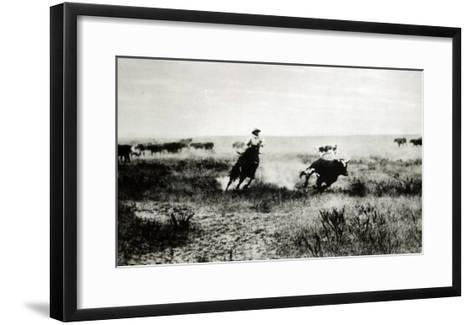 Cowboy on Horseback Lassooing a Calf-L^a^ Huffman-Framed Art Print