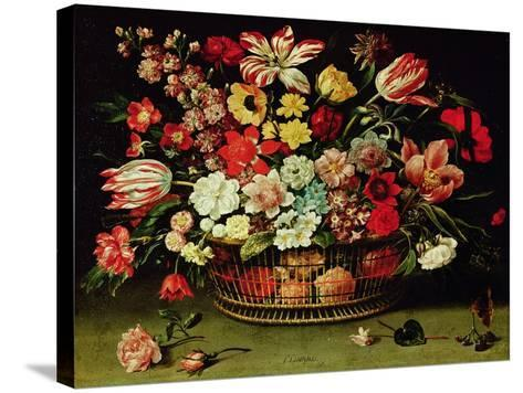 Basket of Flowers-Jacques Linard-Stretched Canvas Print