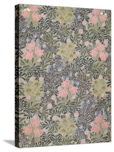Wallpaper design with Tulips, Daisies and Honeysuckle-William Morris-Stretched Canvas Print