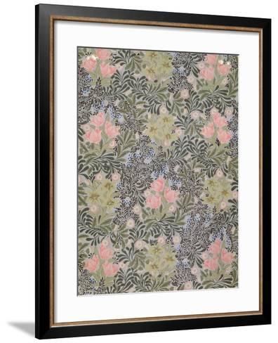 Wallpaper design with Tulips, Daisies and Honeysuckle-William Morris-Framed Art Print