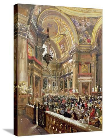 The Miracle of the Liquefaction of the Blood of Saint Januarius, 5th May 1863-Giacinto Gigante-Stretched Canvas Print