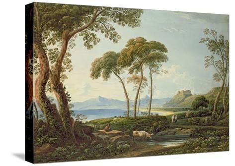 Landscape with Harlech Castle-John Varley-Stretched Canvas Print