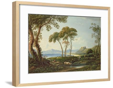 Landscape with Harlech Castle-John Varley-Framed Art Print
