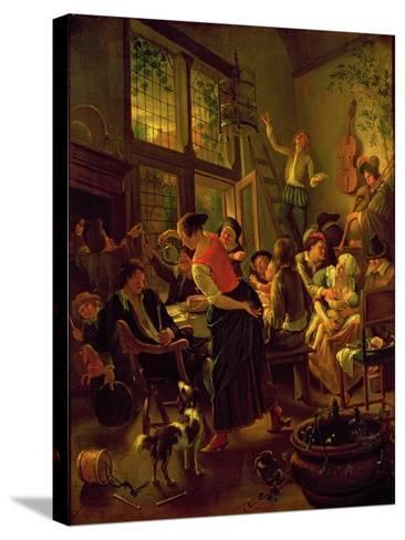 Family Meal-Jan Havicksz Steen-Stretched Canvas Print
