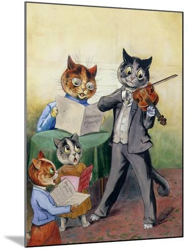 The Mewsical Family-Louis Wain-Mounted Giclee Print