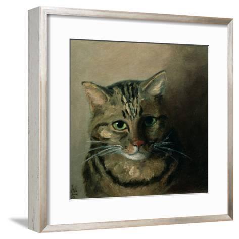 A Head Study of a Tabby Cat-Louis Wain-Framed Art Print