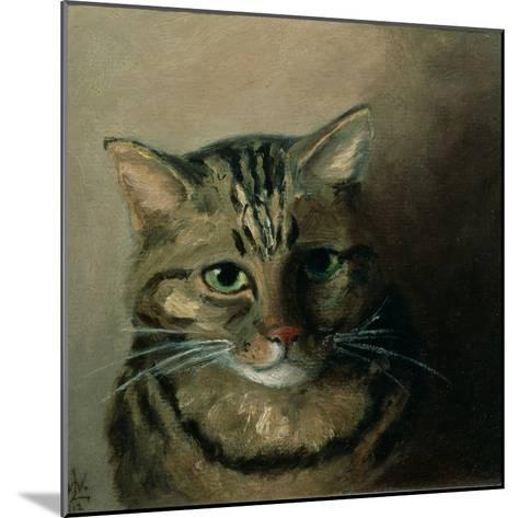 A Head Study of a Tabby Cat-Louis Wain-Mounted Giclee Print