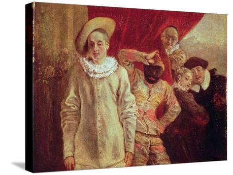 Harlequin, Pierrot and Scapin, Actors from the Commedia dell'Arte-Jean Antoine Watteau-Stretched Canvas Print