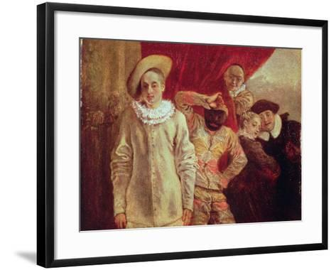 Harlequin, Pierrot and Scapin, Actors from the Commedia dell'Arte-Jean Antoine Watteau-Framed Art Print