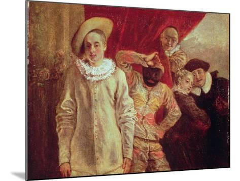 Harlequin, Pierrot and Scapin, Actors from the Commedia dell'Arte-Jean Antoine Watteau-Mounted Giclee Print
