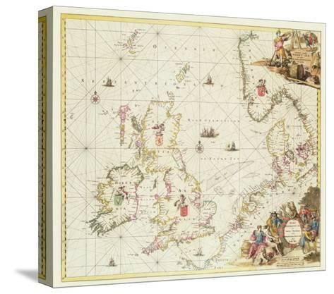 Map of the North Sea, c.1675-Frederick de Wit-Stretched Canvas Print