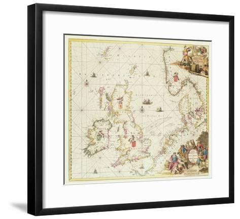 Map of the North Sea, c.1675-Frederick de Wit-Framed Art Print