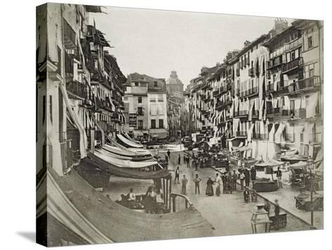 Barcelona Street Scene, c.1880s--Stretched Canvas Print