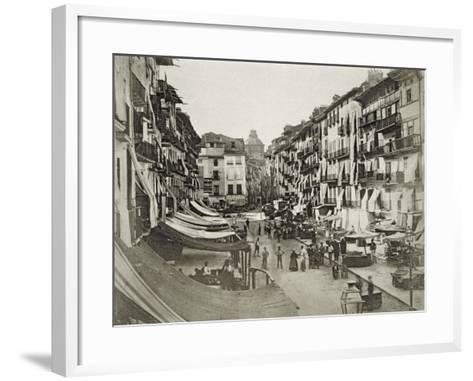 Barcelona Street Scene, c.1880s--Framed Art Print